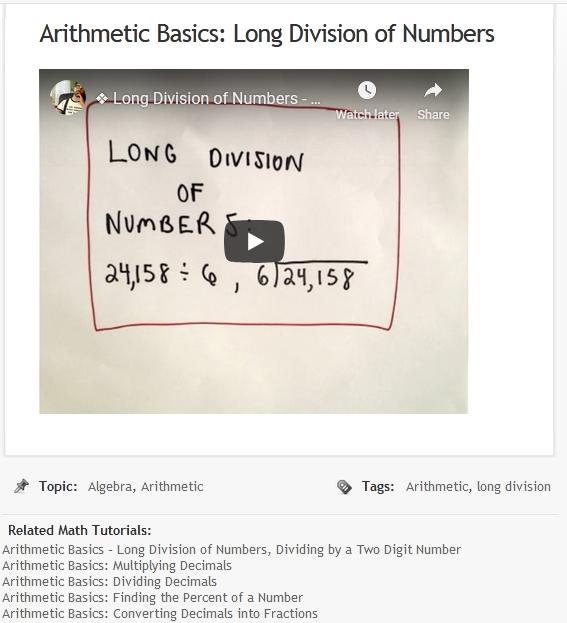 Just Math Tutorials